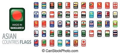 drapeaux, vecteur, countries., national, asiatique