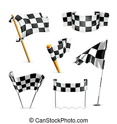 drapeaux, vecteur, ensemble, checkered