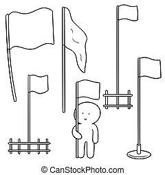 drapeaux, vecteur, ensemble
