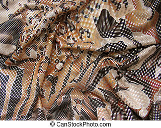 Draped brown multicolored fabric with spangles