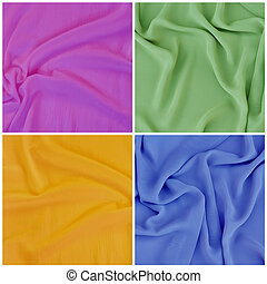 Draped fabric, set - Set backgrounds, texture of colored...