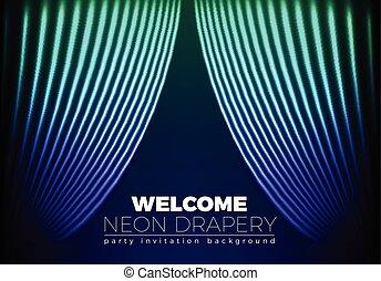 Drapery futuristic background with 80s style neon lines. ...