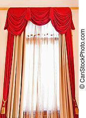 Drapery - Red long drapery at big bright window