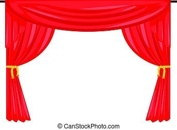 drapować, teatr, ilustracja, wektor, kurtyna, rusztowanie