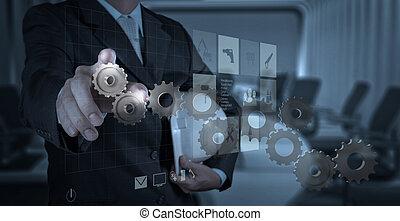 drar, drev, affärsman, hand, framgång