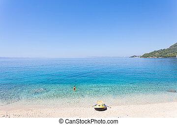 drasnice, dalmatien, kroatien, -, ruderboot, an, der, schöne , sandstrand, von, drasnice