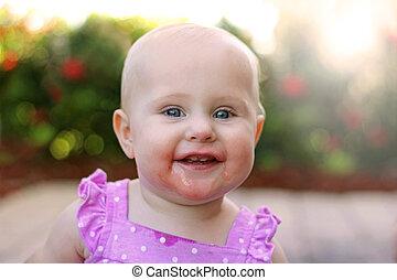 draußen, baby, lächeln, honigraum, m�dchen, glücklich