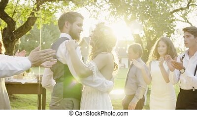 draußen, backyard., festempfang, wedding