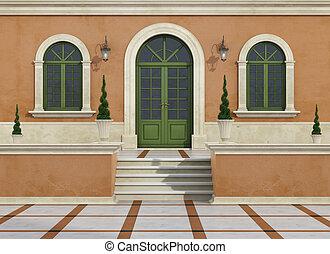 Landhaus Eingang hauseingang draußen land eingang tür klassisch haus stock