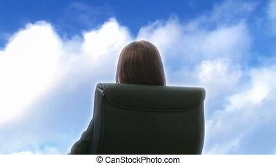 draußen, entspannend, geschäftsfrau