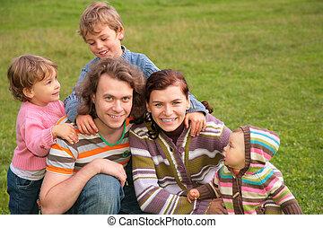 draußen, fünf, familie