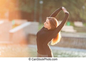 draußen, frau, umwelt, fitness, städtisch, dehnen