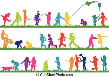 draußen, gefärbt, kinder, silhouetten, satz, spielende
