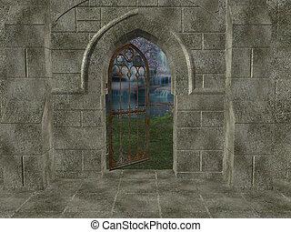 draußen, heiligtum, hintergrund