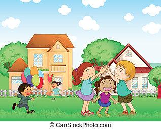 draußen, kinder, spielen