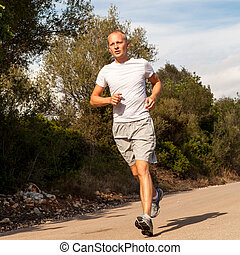 draußen, natur, athletische, läufer, jogging, mann
