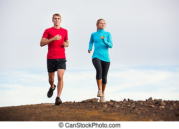draußen, paar, jogging, folgen lauf, fitness, sport