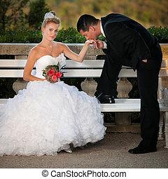 draußen, -, paar, stallknecht, park, braut, verheiratet