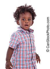 draußen, porträt, von, a, wenig, afrikanischer amerikanischer junge, freigestellt, weiß, hintergrund, -, schwarz, -, kinder, -, leute
