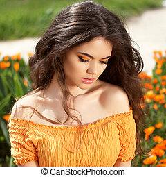draußen, portrait., hair., schöne , brünett, girl., gesunde, langer, hair., schoenheit, modell, woman., frisur