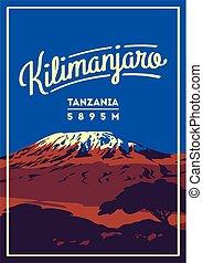 draußen, poster., illustration., einfassung kilimanjaro, afrikas, vulkan, erde, higest, tansania, abenteuer