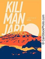 draußen, poster., illustration., einfassung kilimanjaro, sonnenuntergang, afrikas, vulkan, erde, higest, tansania, abenteuer