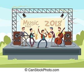 draußen, sommer, fest, concert, mit, schräge musik, band,...