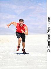 draußen, sprinten, läufer, -, rennender , mann