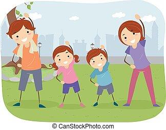 draußen, stickman, familie, übung
