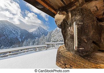draußenes thermometer, ausstellung, minus, grade, celsius,...
