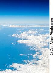 draufsicht, auf, der, blauer himmel, und, wolkenhimmel