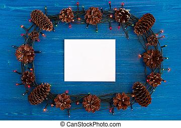 Weihnachtsbeleuchtung Kegel.Ohren Weizen Kegel Raum Hölzern Text Rahmen Oberseite