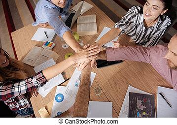 draufsicht, foto, von, teambuilding, tätigkeiten