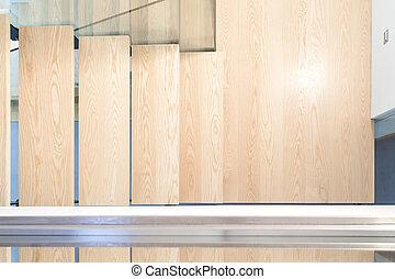 draufsicht, von, a, modern, treppenaufgang