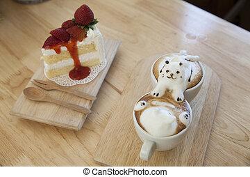 draufsicht, von, latte, bohnenkaffee, garnierung, gemacht, per, milchschaum, oberseite, auf, der, tasse heißen kaffees, und, erdbeerkuchen