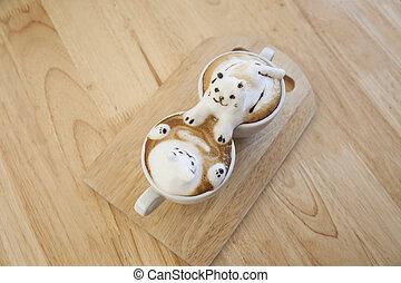 draufsicht, von, latte, bohnenkaffee, garnierung, gemacht, per, milchschaum, oberseite, auf, der, tasse heißen kaffees, ., ort, auf, der, holz, tisch
