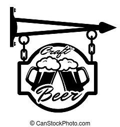 draught, cerveja, crafting., rua, signboards