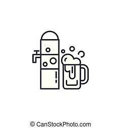draught, cerveja, linear, ícone, concept., draught, cerveja, linha, vetorial, sinal, símbolo, illustration.
