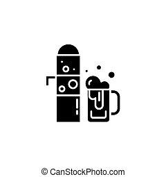 draught, cerveja, pretas, ícone, concept., draught, cerveja, apartamento, vetorial, símbolo, sinal, illustration.