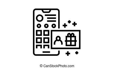 draw among subscribers animated black icon. draw among subscribers sign. isolated on white background