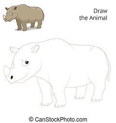 Draw animal rhino educational game cartoon colorful vector...