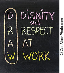 DRAW dignity and respect at work - workplace culture acronym, color chalk handwriting