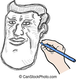 Draw face man
