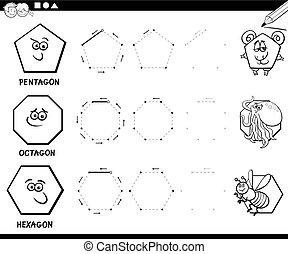 draw geometric shapes coloring page - Black and White...