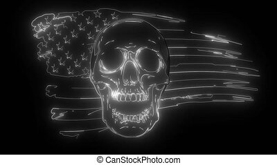 draw of Skull and flag usa. digital neon video.