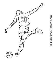 Draw of t-shirt ten player running