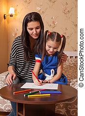 draw., pequeno, estudos, menina