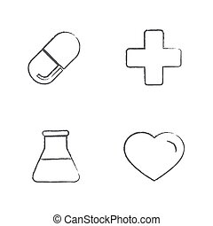 Draw set Medical Icons Set, Vector Design