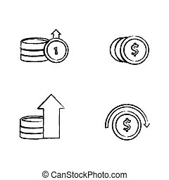 Draw set of coins design