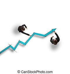 Draw stat - Business people draw a big statistic arrow